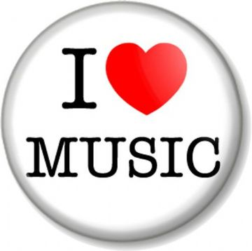 I Love / Heart MUSIC Pinback Button Badge Singing Dancing Musical Instrument